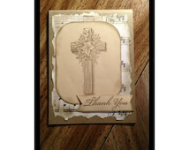 Thank you Card. Religious Christian Thank you card.  Easter Cross card.  Easter Lily Card. Rustic Card.  Church thank you.