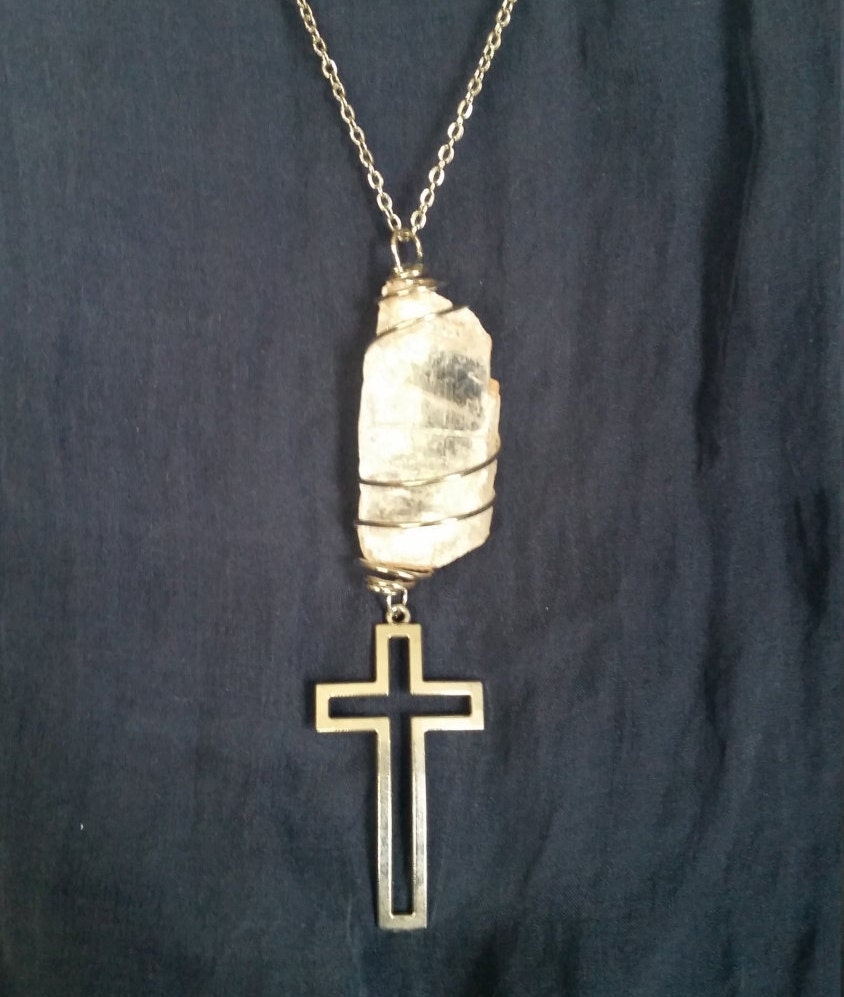 selenite cross necklace mystical new age jewelry for
