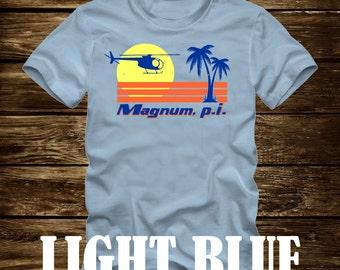 MAGNUM P.I. Beach Scene Tshirt - Adult sizes - fun 80s Tv ferrari hawaii Tom Selleck pi -426