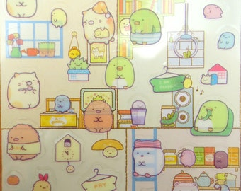 Sumikko Gurashi Japanese mochi creature San-X stickers - kawaii bear and cat - Shiro Kuma - Neko - Penguin - Tokage - Tonkatsu - Bubble tea