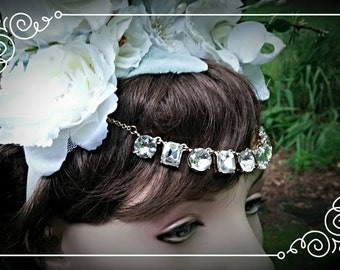 FLASH SALE - 50% off - Ready to Ship Floral Hair Wreath White Bridal Luxury Bling Floral Crown -  Jewels & a Touch of Blue