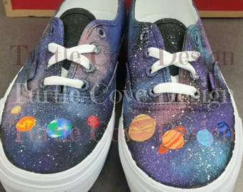 Solar System Galaxy Shoes - Handpainted Custom Shoes - Women's Sneakers