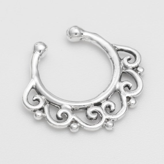 Fake oxidized sterling silver Septum Ring.