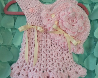 Crocheted Dress and Hat
