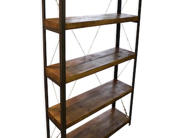 KONK! Oak/Steel - 800mm 'Classic'  Bookcase/Bookshelf INDUSTRIAL Shelving [Bespoke sizes!]