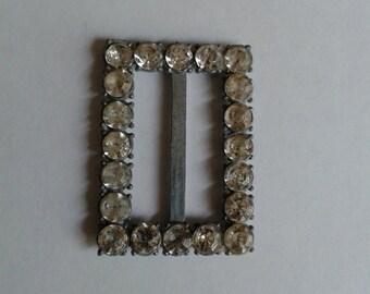 Vintage Rhinestone, Silver Metal  Belt Buckle