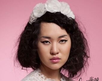 Bridal Silk Organza Flower Crown: 'Luana'