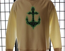 Tribal Anchor Lightweight Sweatshirt. Screen Printed and Air Brushed. One Of A Kind. Nautical Long Sleeve Shirt.