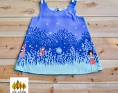 Wee Wander Summer Night Lights reversible toddler dress. Blue toddler sun dress. Birthday or party dress toddler.  Michael Miller fabric