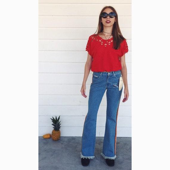 90s Does 70s Fringed FLARE Leg Bell Bottom Blue JEANS Side