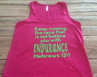 HEBREWS 12:1 Workout Tank/ Motivational Fitness/ Christian Clothing/ Keep Running the Race that is Set Before You