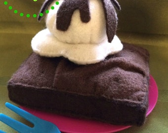 DIY PDF Pattern Download - Realistic Waldorf Inspired Felt Brownie and Icecream Play Food Plush Toy for Kids