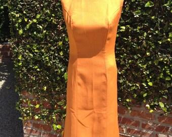 Vintage Orange Cotton Linen Sleeveless Dress With Kick Side Pleats Size 8 Small Medium