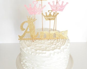 Princess Cake Topper Custom Cake Topper for Princess Party - Colors Firstname and Age