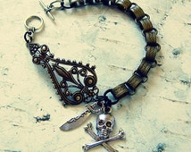 Pirate Bracelet, Featuring Skull And Crossbones And Sword Charms, Pirate Jewelry, Pirate Accessories, The Perfect Gift For Pirates