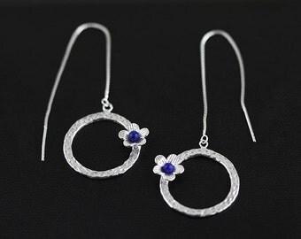Lapis Flower Earrings Sterling Silver Hammered Hoop Flower Charm Dangle Earrings Unique Women Style EA031