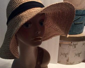 20% OFF SALE Vintage Wide Brim Natural Straw Hat