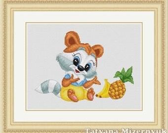 """Cross stitch pattern """"Little raccoon"""""""