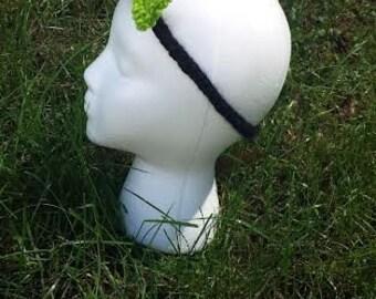 Hand Knit Black Headband with Green Bow