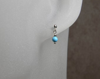 Petite Turquoise Sterling Silver Minimalist Dangle Earrings