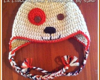 Crochet hat for baby, child or infant, shaped like a puppy.
