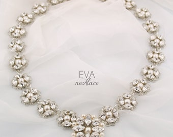 Statement wedding necklace - couture bridal necklace - bridal statement necklace - crystal and pearl - Swarovski crystal - Eva necklace