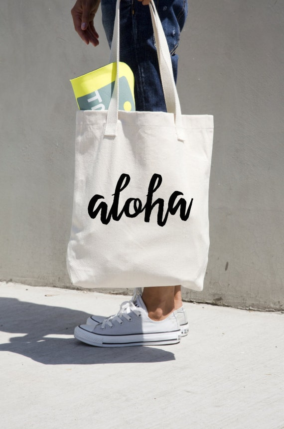 Aloha Tote Bag Canvas Cotton Market Book Bag Bookbag
