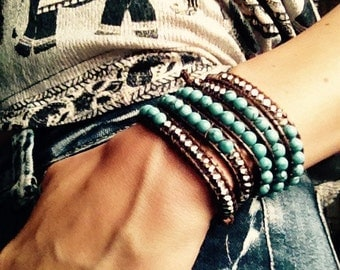 Turquoise Wrap Bracelet; Leather Wrap Bracelet, 5 wrap Leather Bracelet, Beaded Wrap Bracelet, Vegan, Wrap leather bracelet