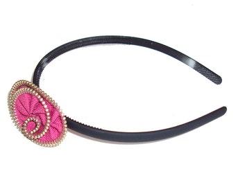 Handmade tiara with pink zipper flower