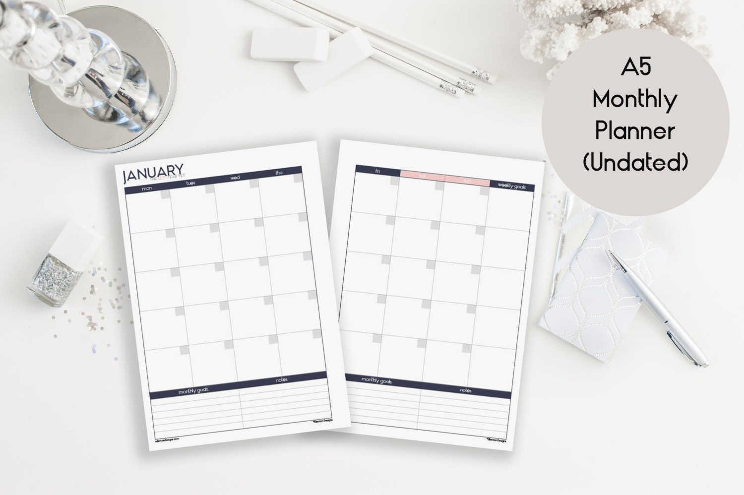 A5 Undated Monthly Calendar Printable Inserts Refills also
