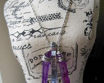 SALE Purple and silver quartz necklace