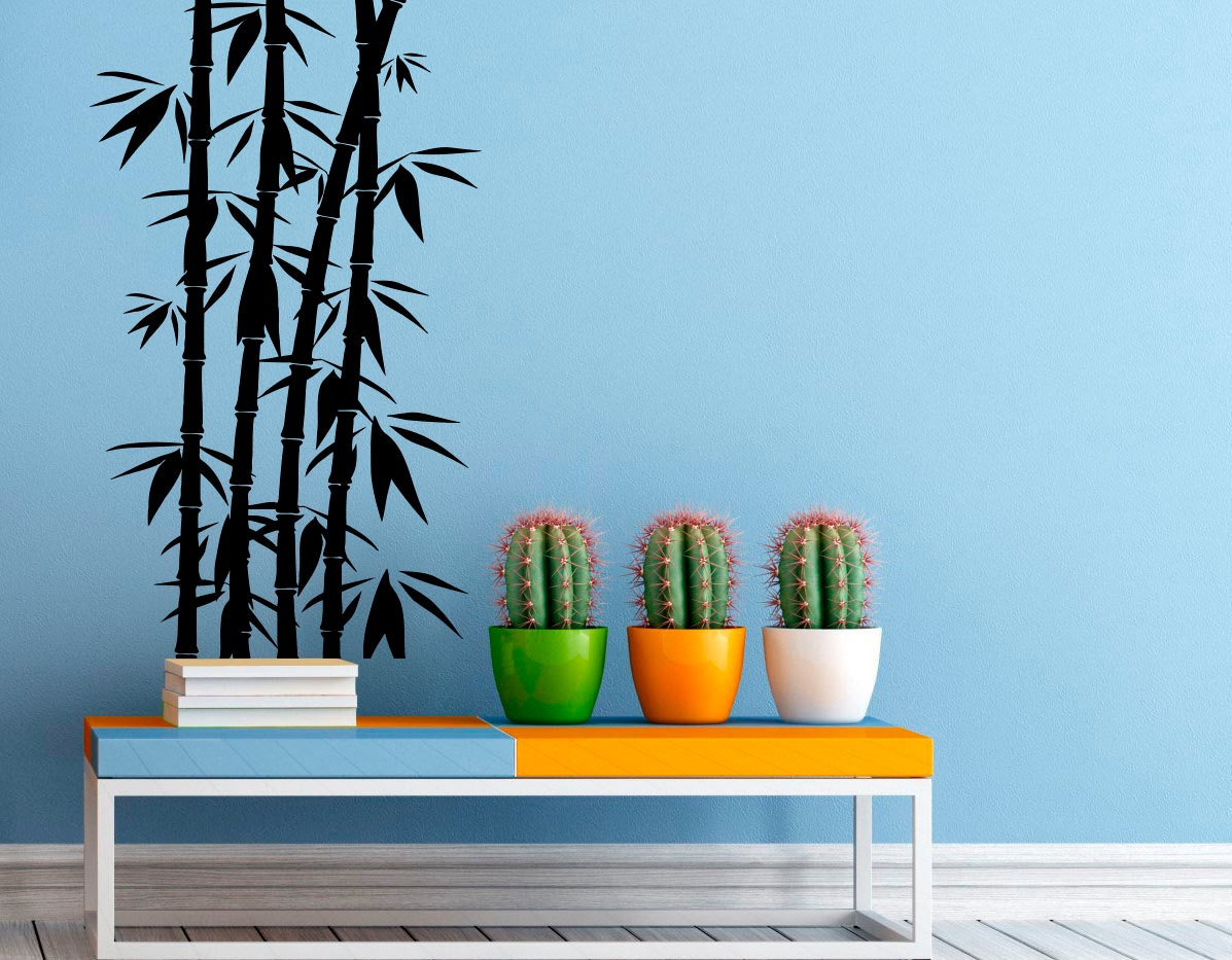 Bamboo stalk wall decal vinyl stickers nature home interior for Poster mural zen deco