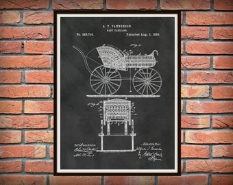 Patent 1886 Baby Carriage Patent Art Print Poster Wall Art - Nursery Wall Art - Childrens Room -  Play Room Art - Baby Shower Gift