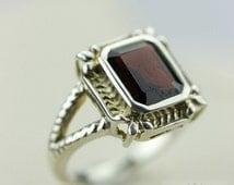 Size 8 AFRICAN Garnet BAGUETTE Cut (Nickel Free) 925 Fine Sterling Silver Ring & FREE Worldwide Express Shipping r12