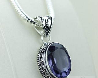 27 Carats Irradiated IOLITE 925 S0LID Sterling Silver Vintage Style Setting Pendant + 4mm Snake Chain & Free Worldwide Shipping p2494