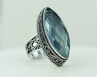 Size 8 - Briolette Cut 26 Carat APATITE 925 S0LID (Nickel Free) Sterling Silver Vintage Setting Ring & FREE Worldwide Express Shipping R1723