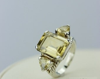 Size 5 Royal SETTING 23 CARAT CITRINE (Nickel Free) 925 Sterling Silver Ring & Free Worldwide Express Shipping r308