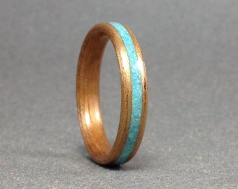 Hawaiian Koa wood ring with turquoise, Koa bentwood ring with sleeping beauty turquoise, Wood Ring Turquoise