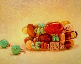 Favorite Jewelry, 5x8, Oil Painting, Custom, Art