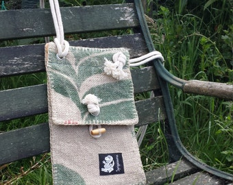Handbag: Cross body strap, bag made from upcycled coffee sack featuring original sack design, lining from upcycled household textile. OOAK