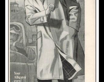 "Vintage Print Ad September 1962 : Alligator All Weather Coat Illustration Fashion Clothing Wall Art Decor 5.5"" x 11"" each Advertisement"