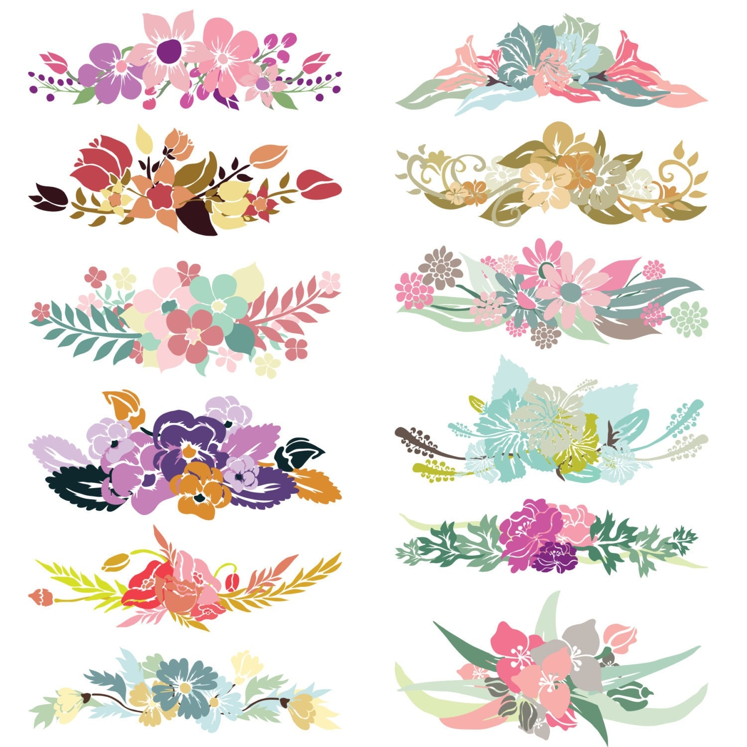 Floral Bouquet Clip art FLOWERS CLIPART. by morenaphotography