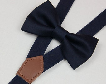 Deep blue navy bow tie,BOWTIE SUSPENDER SET,men bow ties navy blue suspenders,baby bowties,toddler bow tie,boy bow tie,wedding bow ties