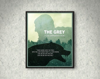 The Grey Minimalist Movie Poster Print, The Grey Poster, Home Decor, Print Art Poster