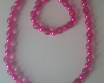 Hot Pink Beaded Jewelry Set   (#351)