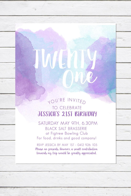 21st birthday invitation twenty one watercolour invitation