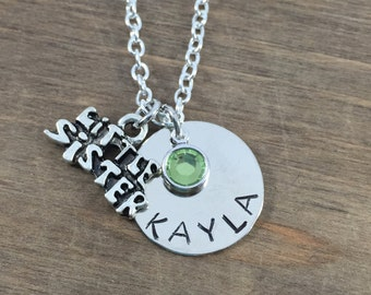 Little Sister Necklace - Personalized, Hand Stamped Sibling Necklace - Sister Name Necklaces - Birthstone Necklace