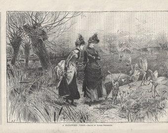 A Halloween Vision, original wood-engraved children's illustration, 1887