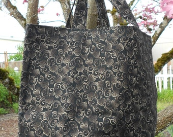 Black and Gold Swirl Market Tote Bag