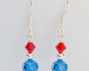 Red White & Blue Earrings with Swarovski® Crystal, Patriotic Jewelry July 4th Earrings Clip On Earrings Patriotic Drop Earrings